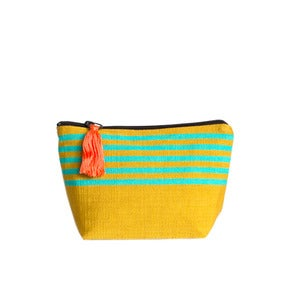 Image of Small Tassel Bag Mustard/Turquoise
