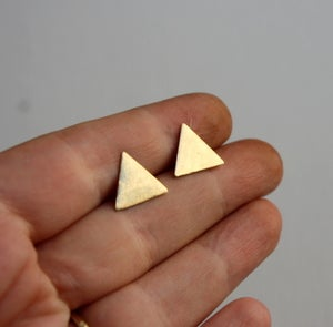 Image of Brass Triangle Studs