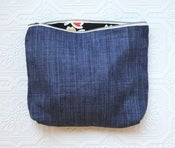 Image of Faded Blues Linen Cosmetic Bag