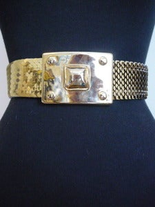 Image of Bill Blass wide gold stretch belt