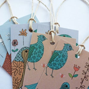 Image of Colourful Birds and Floral Gift Tags
