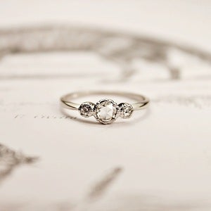 Image of platinum rose-cut diamond 'trilogy' ring