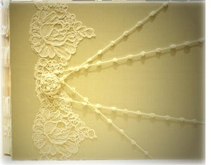 Image of Luxury Custom Photo Album, 9x11 Rose Design Alencon Lace Champagne Silk, Photo Book