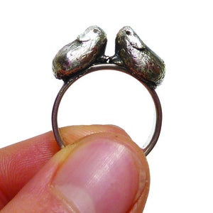 Image of Kissing Guinea Pigs Silver Ring