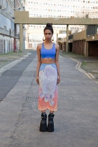 Image of CYBER FLOWERS LONG SKIRT