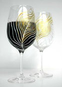 Image of Gold and Ivory Peacock Feather-Set of 2 Hand Painted Wine Glasses