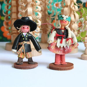 Image of Vintage Wooden Girl &amp; Boy
