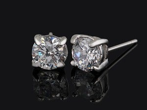 Image of Swarovski 2 ct. Total weight Diamond stud Cubic Zirconia Earrings  $59