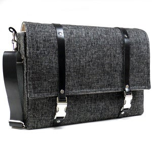 "Image of Larger 13"" Laptop messenger bag in dark gray tweed and black leather"