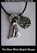 Image of Enchanting Full Moon Witch & Pentagram Talisman/Amulet Pendant Set