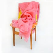 Image of old lady pink mohair throw