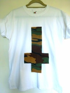 Image of Inverted Camo Cross White Tee