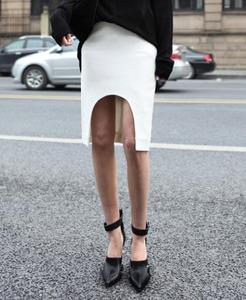 Image of Tailored Pencil Skirt With Cut Out Front