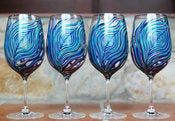 Image of Amethyst and Sapphire Peacock Wine Glasses--Set of 4