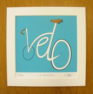 Image of Le Velo screen print by Rebecca J Kaye