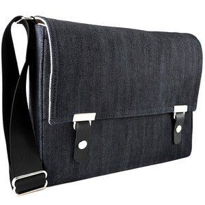 Image of iPad messenger bag in dark blue denim