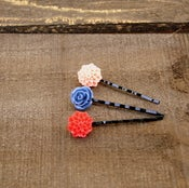 Image of Sail Away - Blooming Bobbies No. 1 {navy, light coral, orange/red}