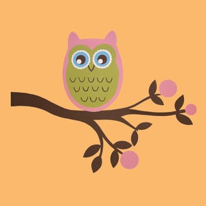 Image of Owl on branch blue or pink