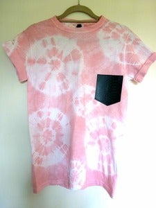 Image of Faux Snakeskin Pocket Effect Pink Tshirt