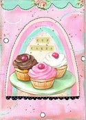 Image of Cupcakes mixed media collage matted PRINT 8x10 fits 11x14 frame