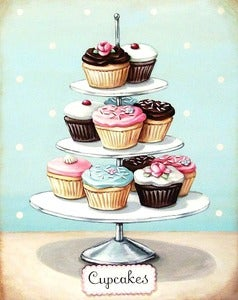Image of vintage bakery inspired cupcakes matted print Large