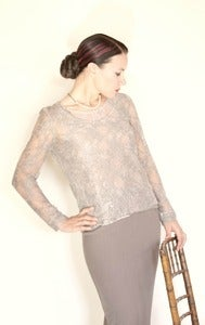 Image of long sleeve crew neck lace