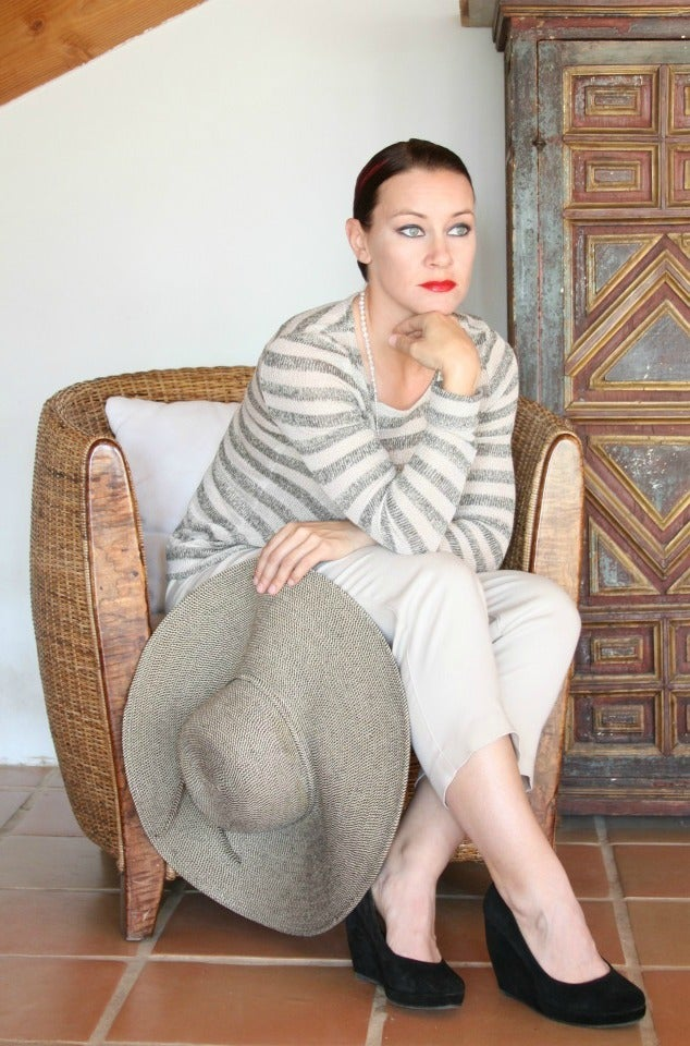 Image of beige stripe crew neck top