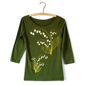Image of Lily of the Valley Olive 3/4 Sleeve Top