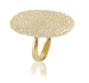 Image of Kara Ackerman <i> Talulah <i> Pave Cocktail Ring in Yellow Gold Plating