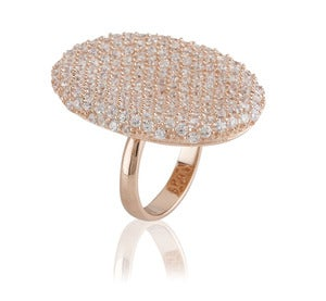 Image of Kara Ackerman <i> Tlaulah <i> Pave Cocktail Ring in Rose Gold Plating