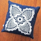 Image of Cushion • Doily White on Denim