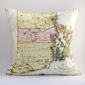 "Image of Vintage RHODE ISLAND Map Pillow, Made to Order 18""x18"" Cover"