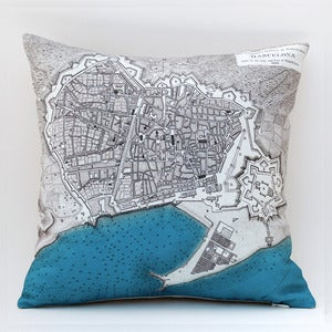 Image of Vintage BARCELONA Map Pillow, Made to Order 15&quot; x15&quot; Cover
