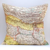 "Image of Vintage NEPAL BHUTAN Map Pillow Made to Order 18""x18"" Cover"