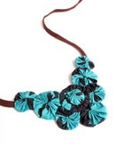 Image of Teal Navy Rosette Necklace