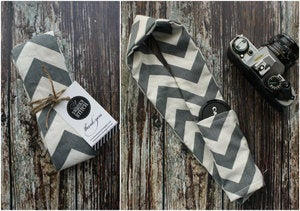 Image of Gray &amp; Cream Chevron Camera Strap Cover 