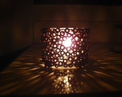 Image of Votive Candle Holder - Brown Candle Holder Made with Recycled Magazines