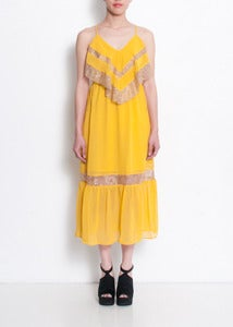 Image of Marigold Chiffon Lace Trim Maxi