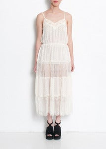 Image of Esme Beaded Tiered Lace Dress
