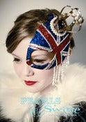 Image of &quot;Regency&quot; Queens Jubilee British Union Jack Half Mask Fascinator Gold Crown Hat Ascot Pearls Glitter