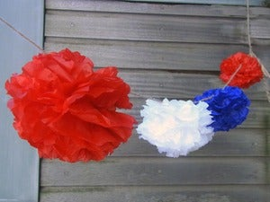 Image of Pom Pom Garland -- Red/White/Blue