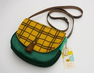 Image of --SOLD OUT-- a small cross body bag with a mustard yellow plaid print flap