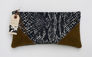Image of --SOLD-- black + white snake print clutch with brown leather corners