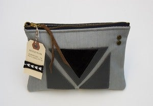 Image of -- S O L D--  OOAK-- slate blue denim zipper purse with geometric leather appliques