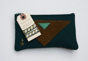 Image of -- S O L D-- OOAK-- deep teal zip pouch with leather triangle appliques