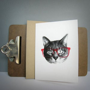 Image of gee whiskers series: pink nerd notecard