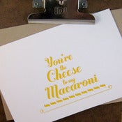 Image of mac n cheese letterpress card