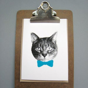 Image of gee whiskers series: blue bow tie notecard
