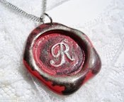 Image of Coral painted Wax Seal Pendant by Ritzy Misfit