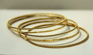 Image of 14k Yellow Gold Filled Beaded/Dotted Stacking Stackable Bangle Bracelet, Wedding Gift, Mother's Day